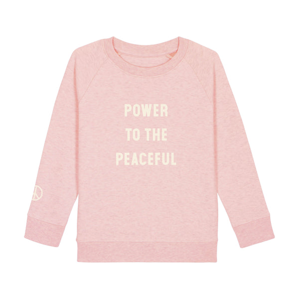 Kids Power To The Peaceful Sweatshirt - Pink Heather