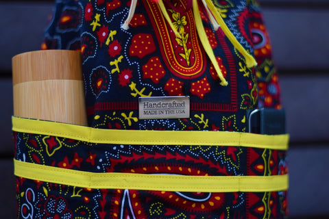 Navy Blue Paisley African Print Bucket Bag