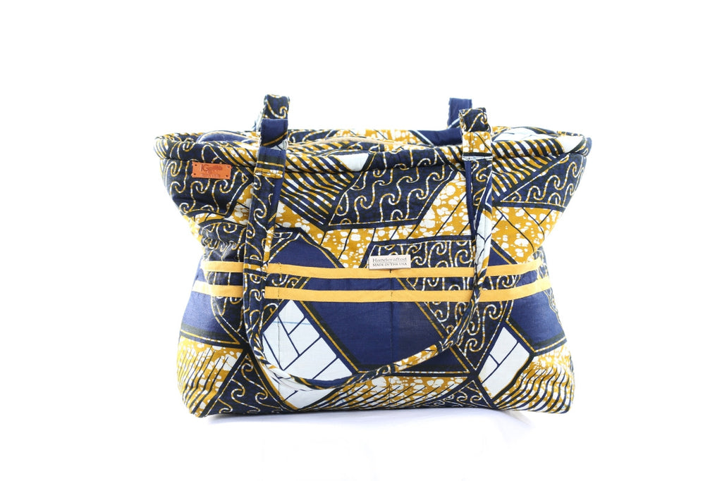 Blue/Gold African Print Tote