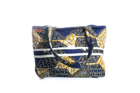 Blue/Gold African Print Tote -With White Stripe