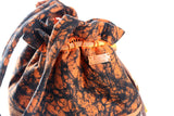 Orange/Black African Print Bucket Bag