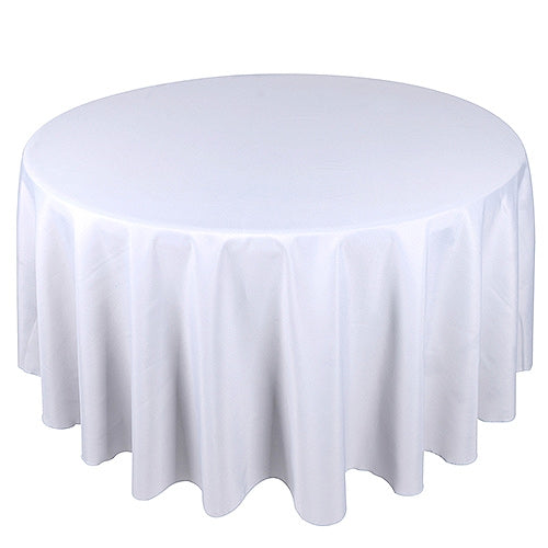 Pre-Order Now and Ship On July 2nd! - White 108 Inch POLYESTER ROUND TABLECLOTHS