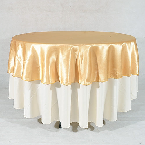 GOLD 108 Inch ROUND SATIN TABLECLOTHS