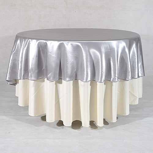 SILVER 108 Inch ROUND SATIN TABLECLOTHS