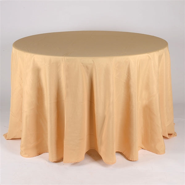 GOLD 108 Inch POLYESTER ROUND TABLECLOTHS