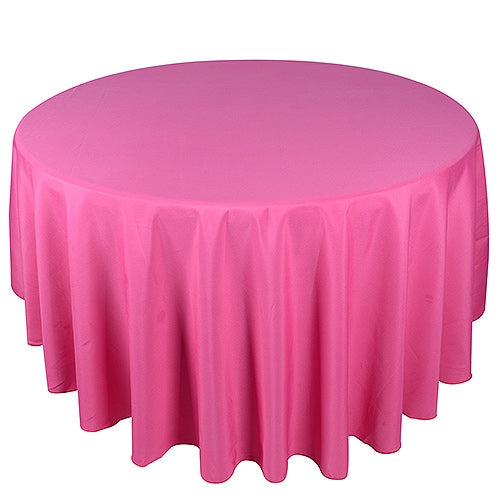 FUCHSIA 108 Inch POLYESTER ROUND TABLECLOTHS