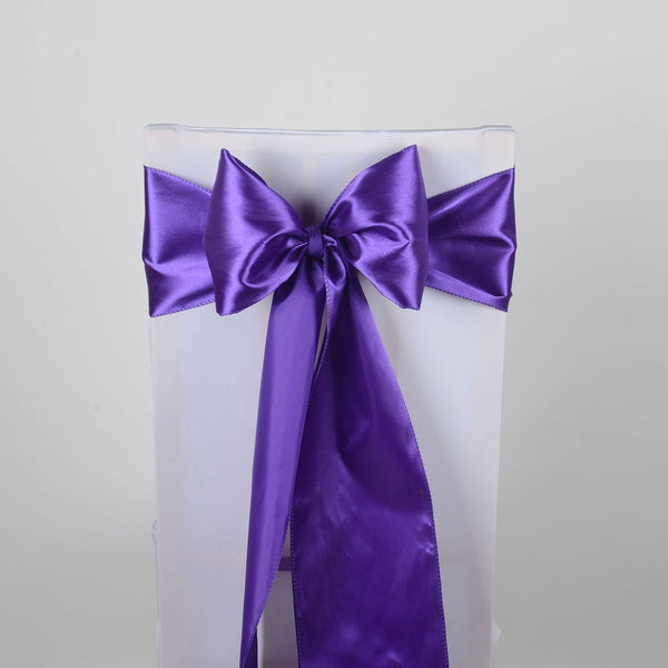 PURPLE SATIN Chair Sash 10 Pieces
