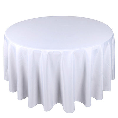 Pre-Order Now and Ship On July 2nd! - White 120 Inch Polyester Round Tablecloths