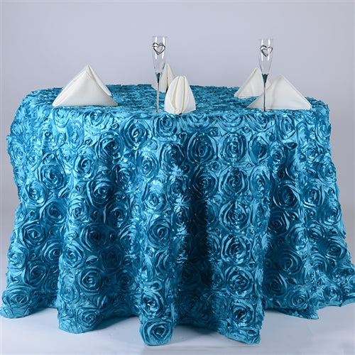 TURQUOISE 120 Inch ROSETTE ROUND Tablecloths