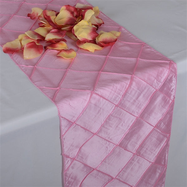 Pink PINTUCK Table Runner