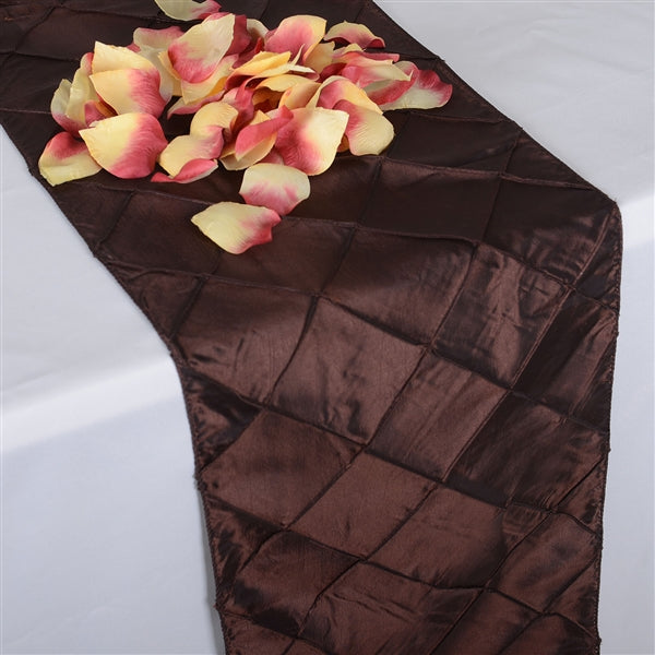 CHOCOLATE BROWN PINTUCK Table Runner