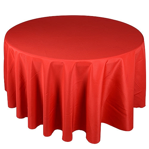RED 132 Inch ROUND POLYESTER Tablecloths