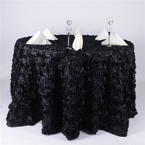BLACK 132 Inch ROSETTE ROUND Tablecloths