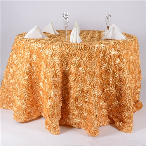 GOLD 132 Inch ROSETTE ROUND Tablecloths