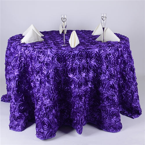 PURPLE 132 Inch ROSETTE ROUND Tablecloths
