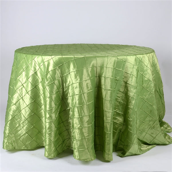 APPLE GREEN 132 inch ROUND PINTUCK Tablecloth