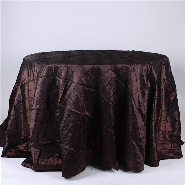 CHOCOLATE BROWN 132 inch ROUND PINTUCK Tablecloth