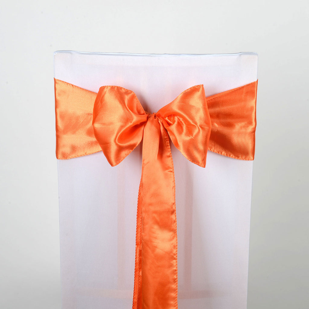 Orange Satin Chair Sash 10 Pieces