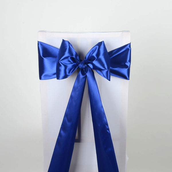 ROYAL BLUE SATIN Chair Sash 10 Pieces