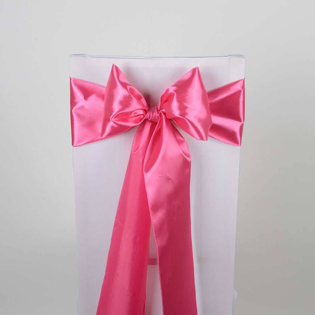 Hot Pink SATIN Chair Sash 10 Pieces