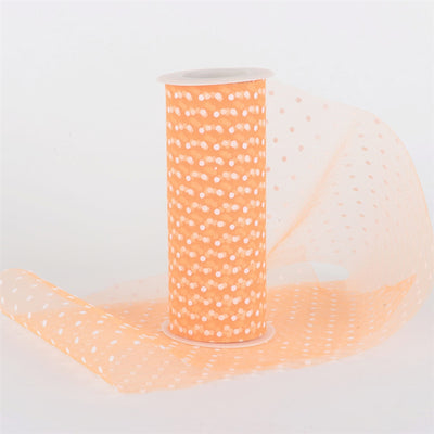 ORANGE Swiss Dot Nylon Tulle 6 inch x 10 yards