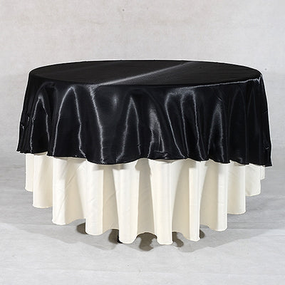 BLACK 70 Inch ROUND SATIN Tablecloths