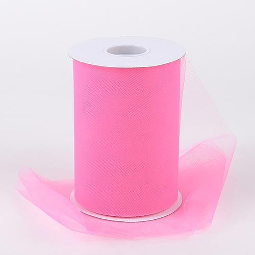 Shocking Pink 6 Inch Tulle Roll 100 Yards