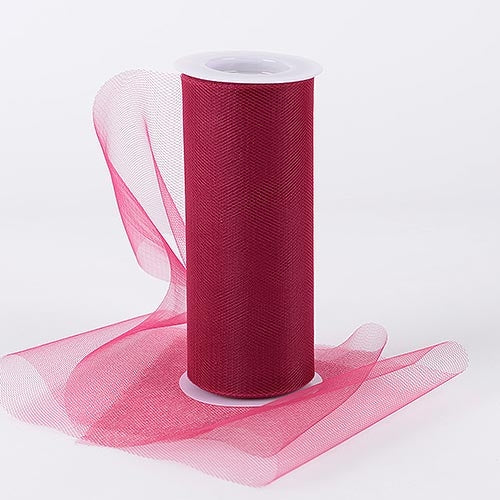 BURGUNDY 6 Inch Tulle Roll 25 Yards
