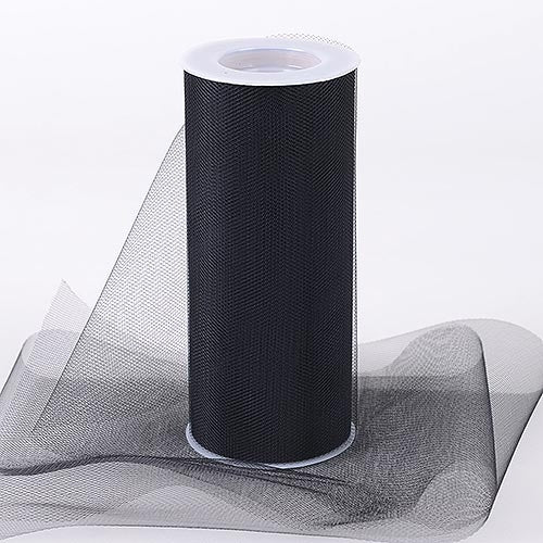 BLACK 6 Inch Tulle Roll 25 Yards