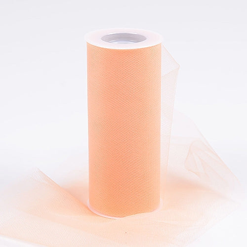 Peach 6 Inch Tulle Roll 25 Yards
