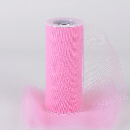 Pink 6 Inch Tulle Roll 25 Yards