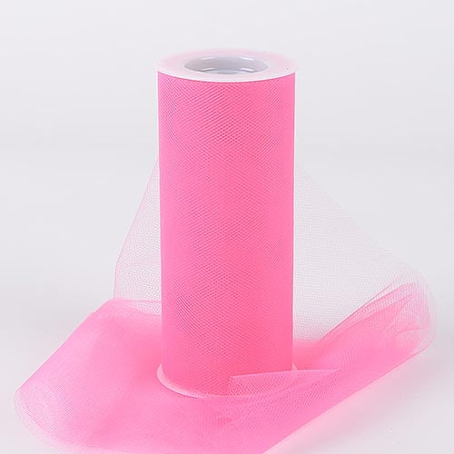 Shocking Pink 6 Inch Tulle Roll 25 Yards