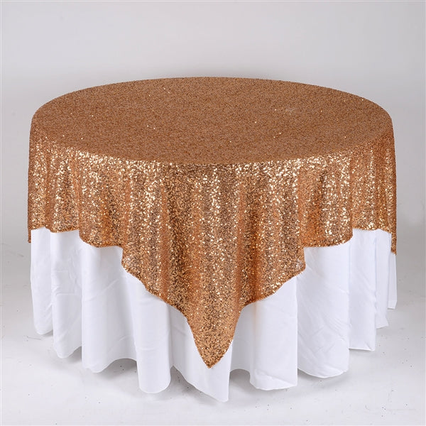GOLD 72 Inch x 72 Inch SQUARE Duchess SEQUIN Overlay