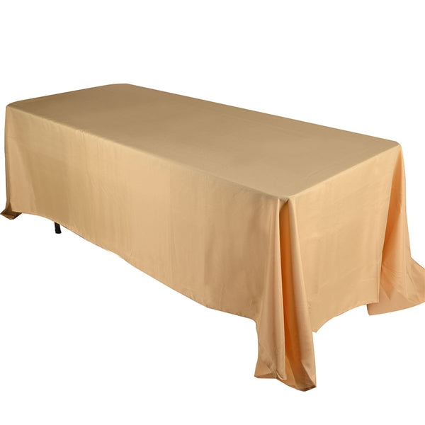 GOLD 90 x 132 Inch POLYESTER RECTANGLE Tablecloths