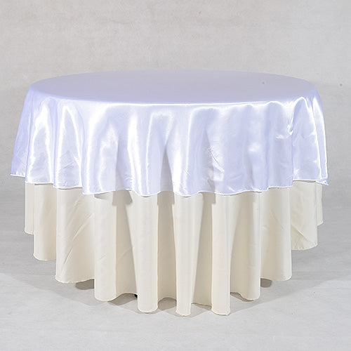 WHITE 90 Inch ROUND SATIN Tablecloths