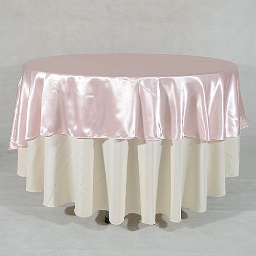 Light Pink 90 Inch ROUND SATIN Tablecloths