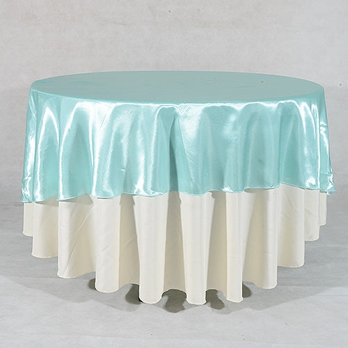 Aqua Blue 90 Inch ROUND SATIN Tablecloths
