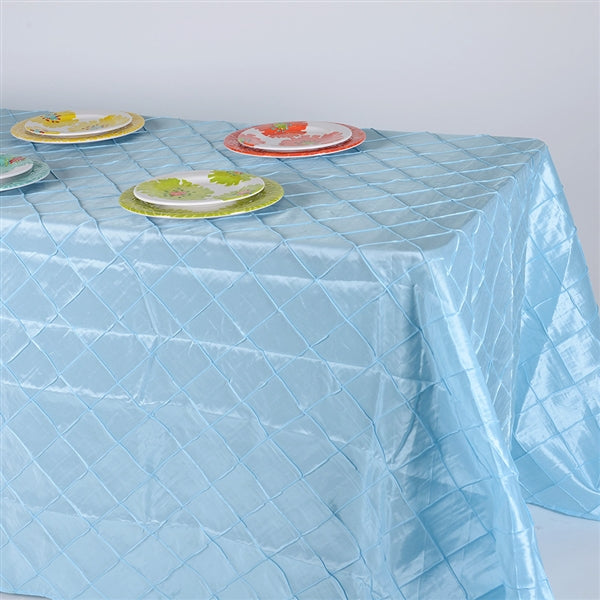 Light Blue 90 inch x 132 inch PINTUCK Tablecloth