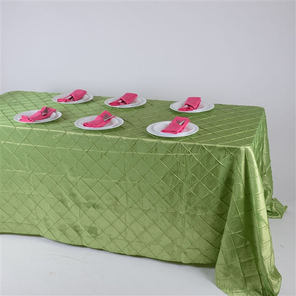 APPLE GREEN 90 inch x 132 inch PINTUCK Tablecloth