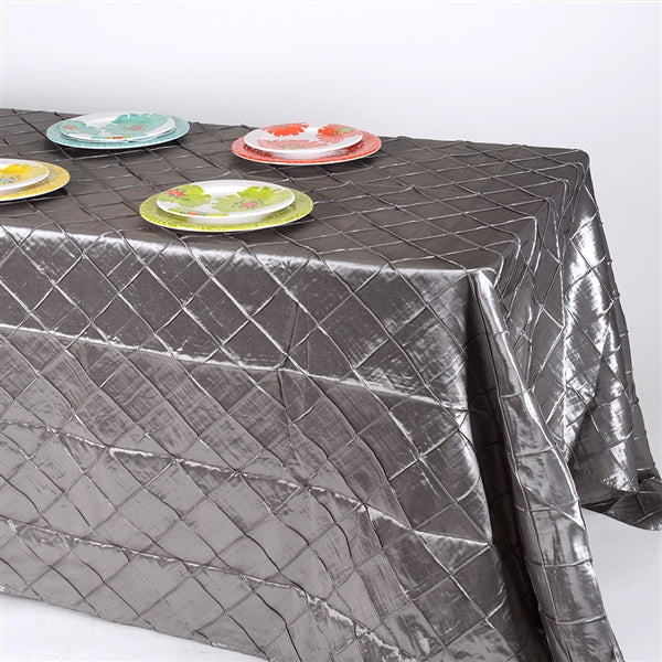 SILVER 90 inch x 132 inch PINTUCK Tablecloth