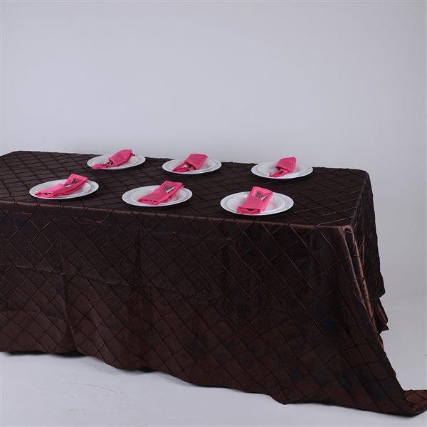 CHOCOLATE BROWN 90 inch x 132 inch PINTUCK Tablecloth