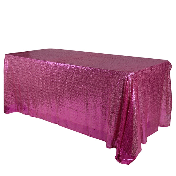 FUCHSIA 90x132 inch Rectangular Duchess SEQUIN Tablecloth