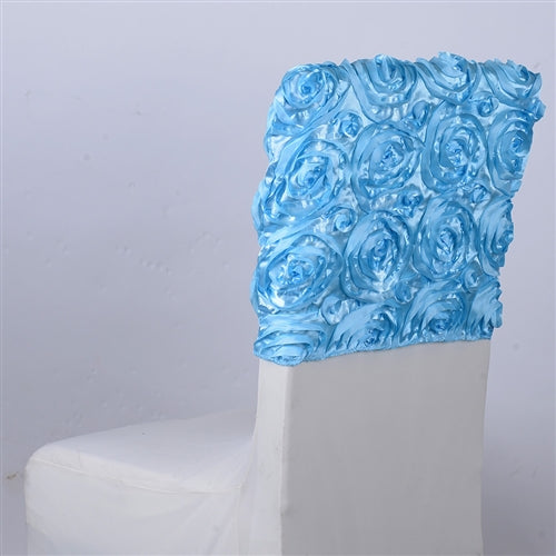 Light Blue 16 Inch x 14 Inch ROSETTE SATIN Chair Top Covers