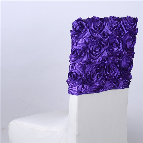 PURPLE 16 Inch x 14 Inch ROSETTE SATIN Chair Top Covers