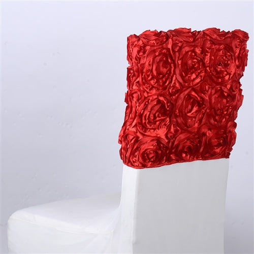RED 16 Inch x 14 Inch ROSETTE SATIN Chair Top Covers
