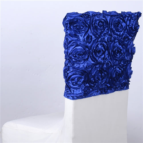 ROYAL BLUE 16 Inch x 14 Inch ROSETTE SATIN Chair Top Covers