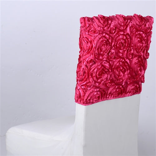 FUCHSIA 16 Inch x 14 Inch ROSETTE SATIN Chair Top Covers