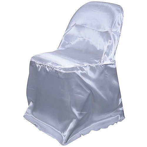 White - Folding Chair Cover Satin - ( Chair Cover )