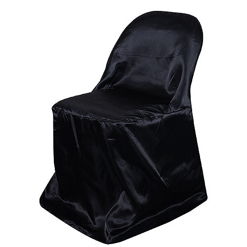 Black - Folding Chair Cover Satin - ( Chair Cover )