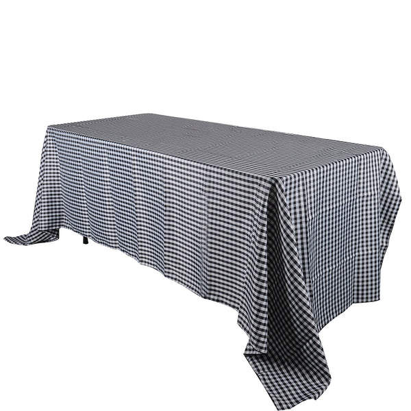 Black - Checkered/ Plaid Rectangle Tablecloths - ( 58 inch x 126 inch )